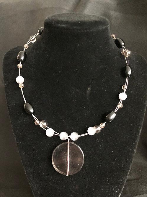 Silver wire Necklace w/Black & Gray Rhinestone Beads
