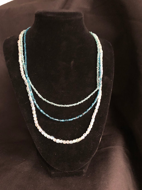 Three shades of Blue Layered Beaded Necklace