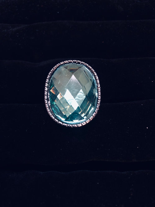 Turquoise Blue Rhinestone Ring Nickle finish (adjustable)