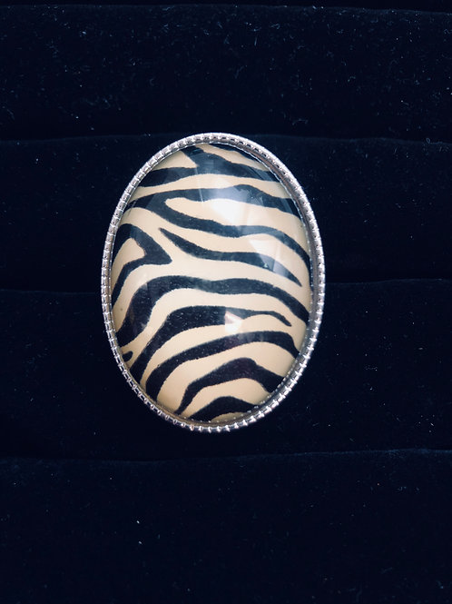 Lg Silver Zebra ring  (adjustable)