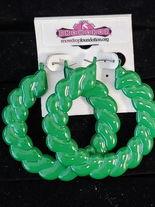 Green large rope hoop earrings