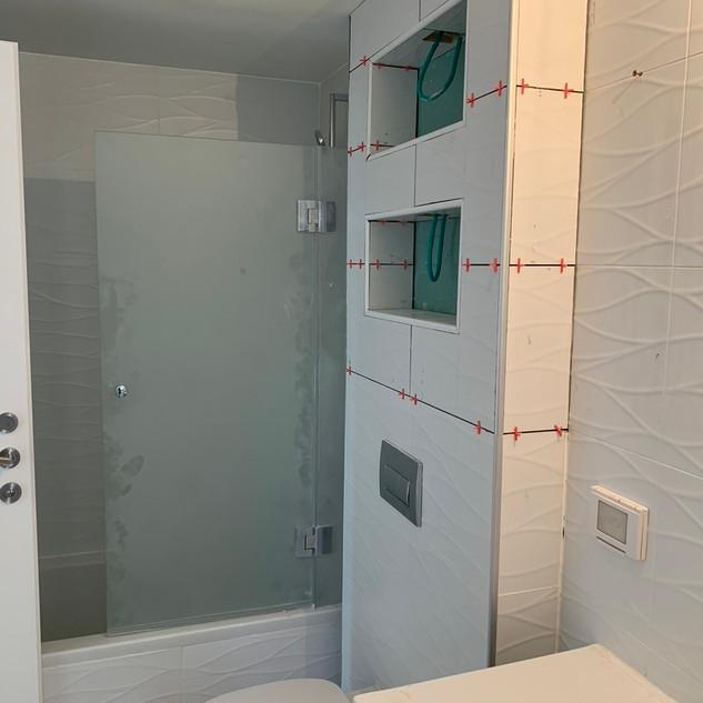 Niche in bathroom being built.