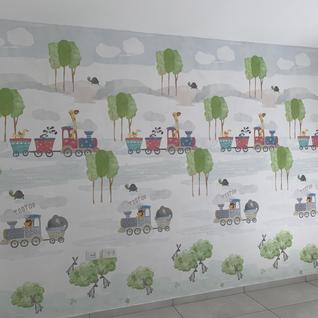 Playroom wall before furniture.