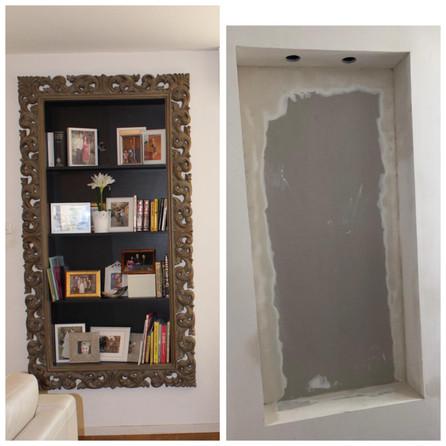 Before renovations of bookshelf.
