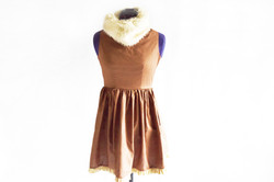 Brown Dress With Faux Fur Collar