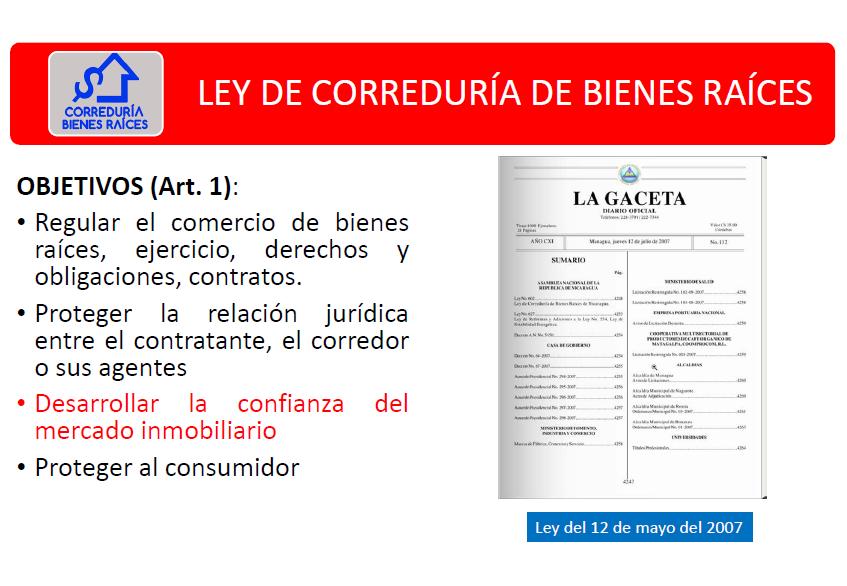 LEY DE CORREDURÍA DE BIENES RAÍCES D