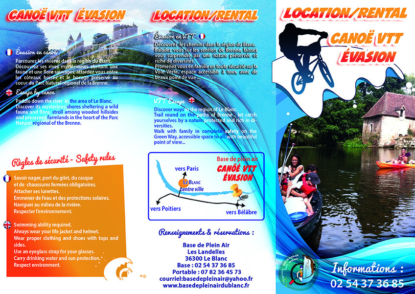 brochure location kayak VTT