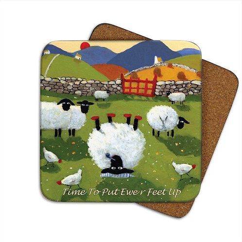 'TIME TO PUT EWER FEET UP' Single Coaster by Thomas Joseph
