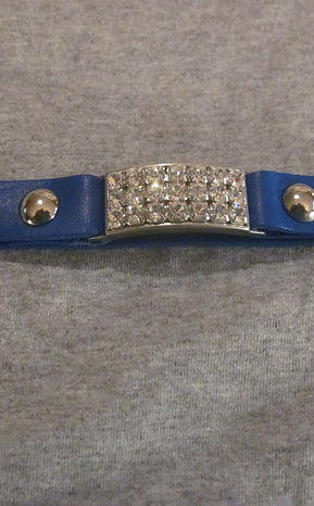 #1 LEATHER BAND WITH RHINESTONES - BLUE