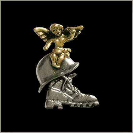 support our troops angel/helmet/boot pin