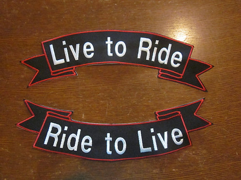 """Large live to ride ,,,ride to live 14"""" x 4.5""""  set"""