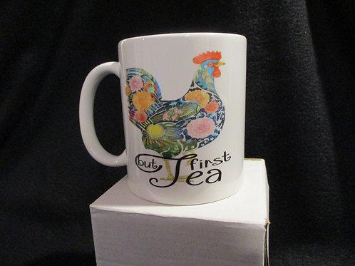 #915 But Tea First floral chicken mug