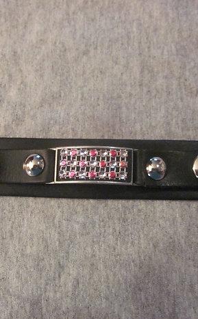 #14 Genuine leather wrist band with mini pink gems