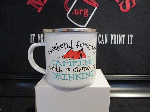 #918 Weekend forecast camping tin mug