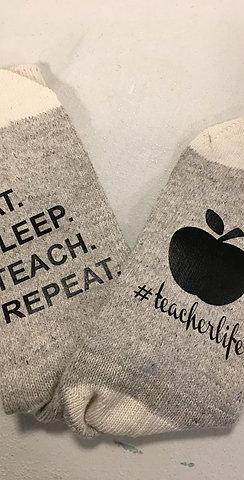 #8 EAT SLEEP TEACH REPEAT SOCKS