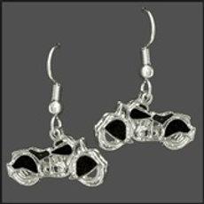 black inlay motorcycle earrings