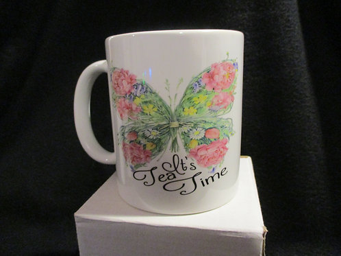 #914 floral butterfly It's Tea time mug