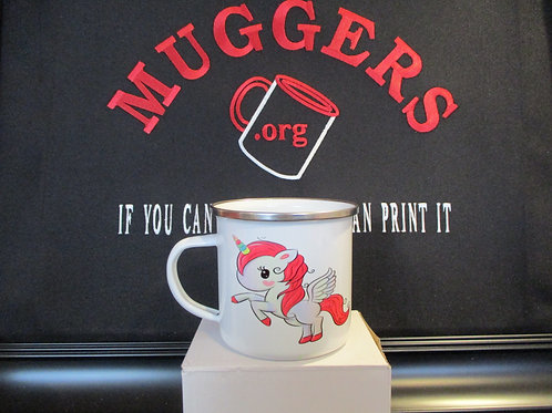 #914 unicorn tin mug