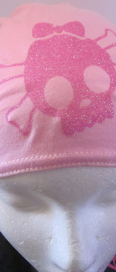 pink doo-rag with glitter skull image