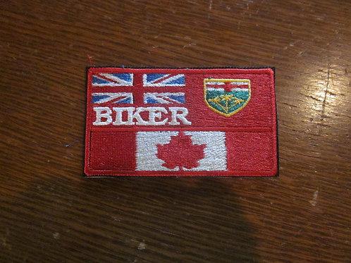 Ontario Canadian Biker flag patch 3.75 x 2.15