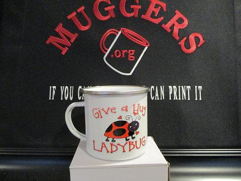 #924 Give a hug ladybug tin mug