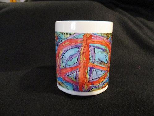 #281 peace water color mug