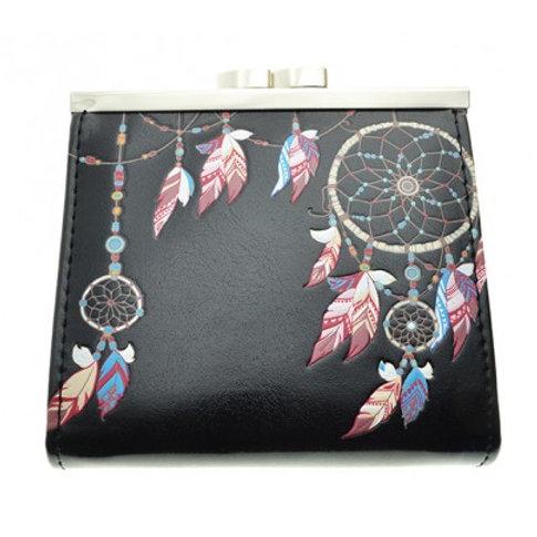 #605 dream catcher black coin purse