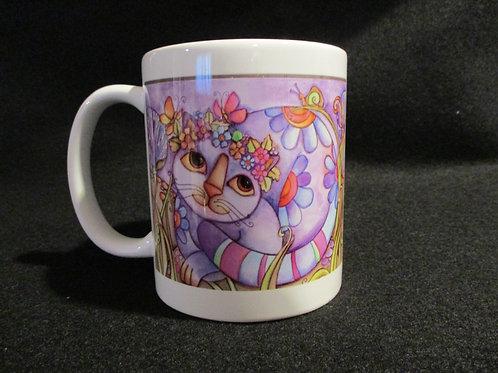 #665 Whimsical cat mug