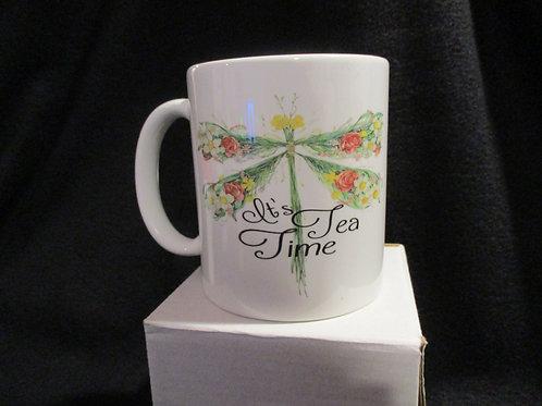 #913 floral dragon fly Its Tea time mug