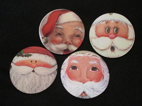 #142 santa face coasters round