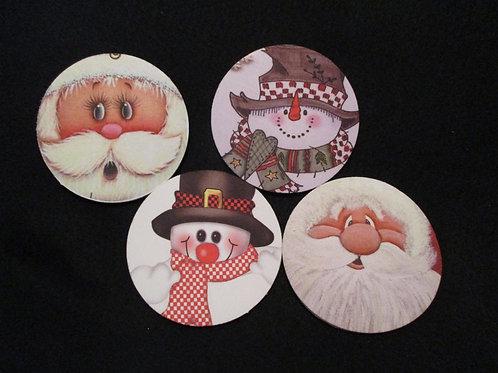 #143 santa/snowman round coasters set
