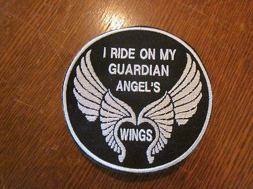 I RIDE ON MY GUARDIAN ANGELS WINGS PATCH