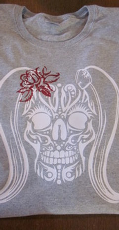 #66 Ladies tribal skull with red glitter rose