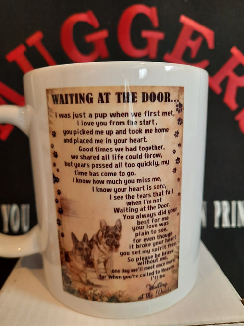 1220-9 WAITING AT THE DOOR DOG MUG