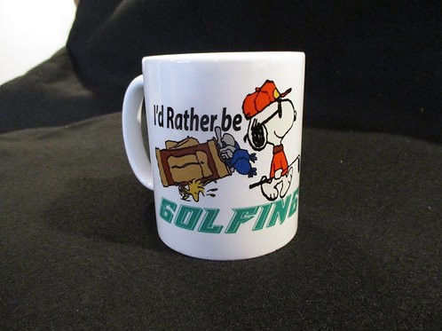 #245 I'd rather be golfing...snoopy mug