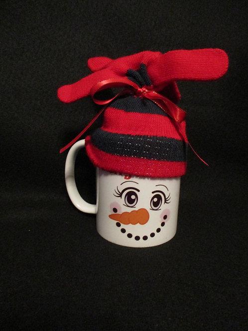 #146 Mrs. Snowman mitten hat mug