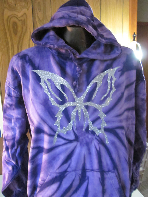 #50b  tie dyed hoodie with sparkle BUTTERFLY IMAGE