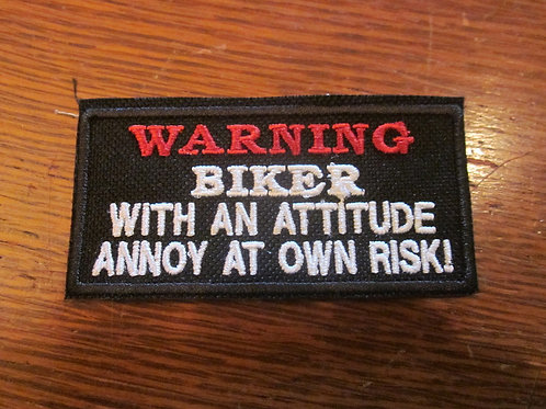 WARNING BIKER WITH ATTITUDE PATCH