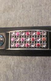 #25 Leather vest xtender/metal inlay/pinkstones