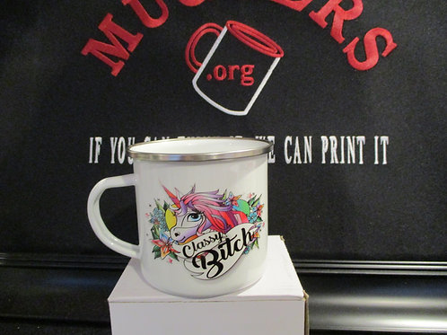 #916 Classy Bitch tin mug