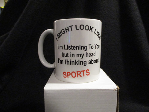 #712 I might look like I'm Listening mug
