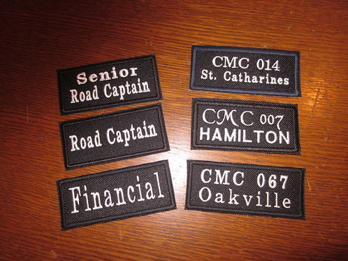 """CHAPTER PATCHES  3.5 x 1.5"""""""