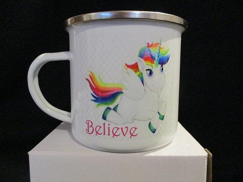 #1034 Unicorn believe tin mug