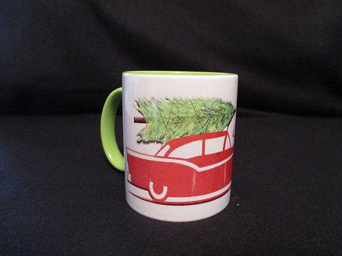 #44  retro car with xmas tree mug