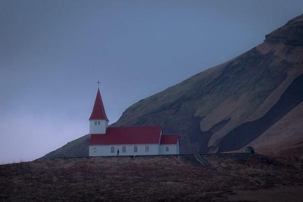 Church . . .  A church overlooks the tow