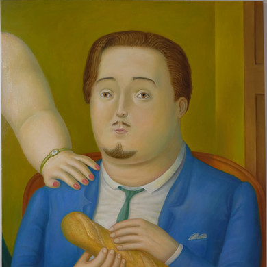 Alessandro Bostelmann, Fernando Botero (1932) - Portrait Of Alessandro Bostelmann With Baguette And Woman in A Hotel Suite in Bogotá
