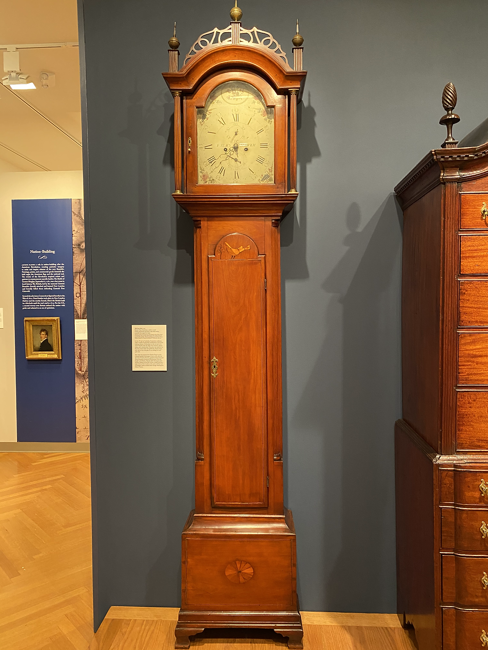 "Tall case clock by ""E. Tracy Norwich"" reportedly for Jedediah Huntington."