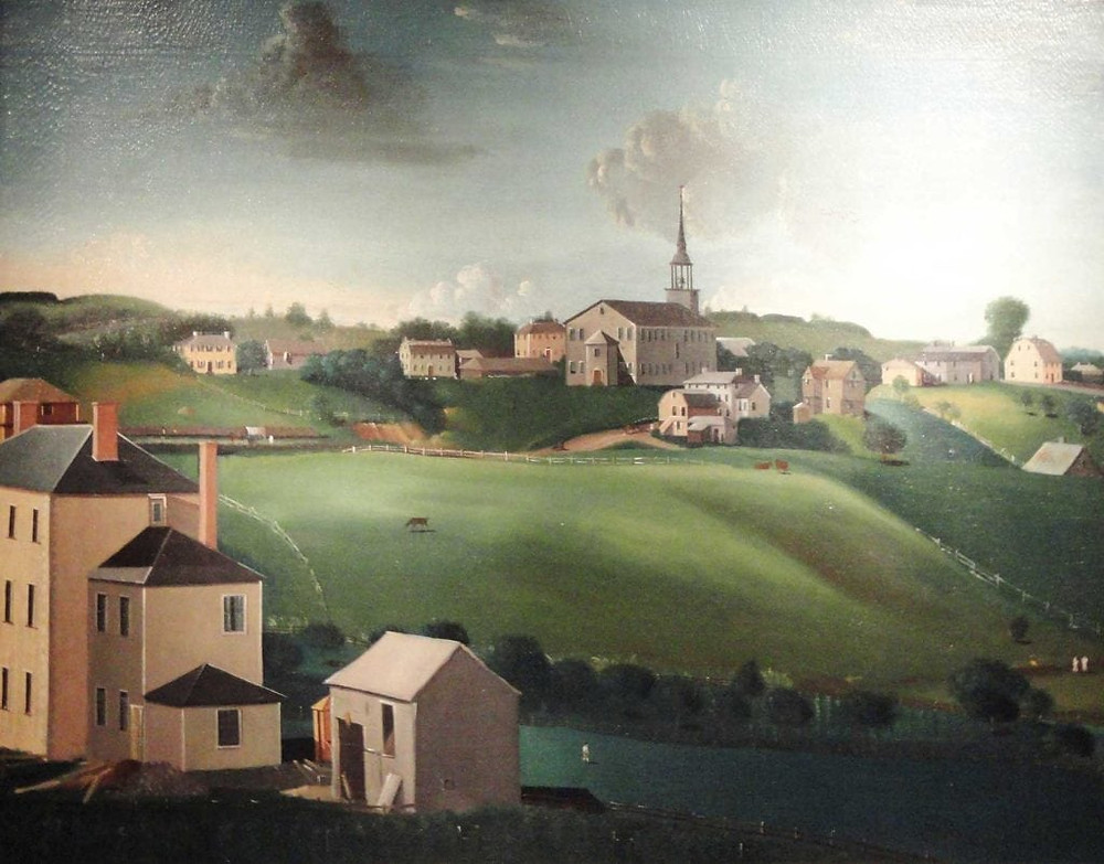 The hilly topography of Roxbury is evident here. The Fourth Meeting House (1744) in the distance. Notice the lack of trees, all would have succumbed during the Siege of Boston in 1775.