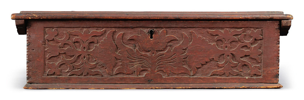 Thomas Stoughton IV document box in its original red paint.