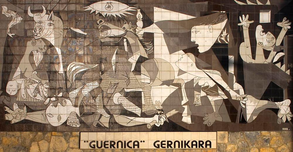 Mural con reproducción del cuadro en Gernika (Vizcaya).